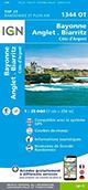 Carte IGN Top 25 1344 OT Bayonne - Anglet - Biarritz