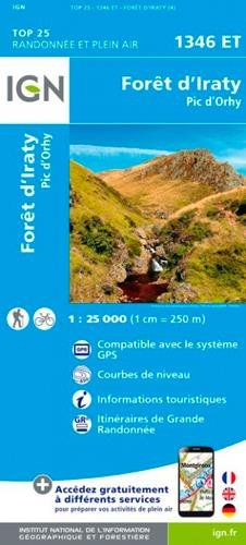 Carte IGN TOP 25 1346 Et - Forêt d'Iraty - Pic d'Orhy