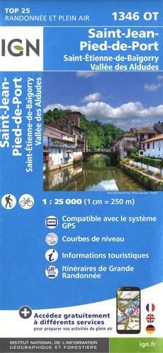 Carte IGN TOP 25 1346 OT Saint-Jean-Pied-de-Port