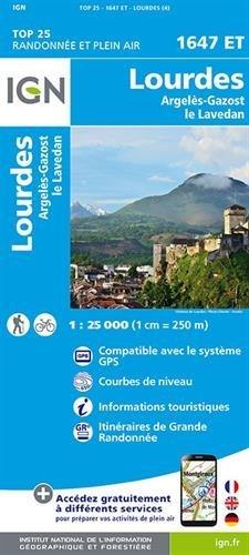Carte de randonnée 1647 ET Lourdes - Argelès-Gazost - Le Lavedan