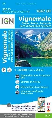Carte de randonnée 1647 OT Vignemale - Ossau - Arrens - Cauterets