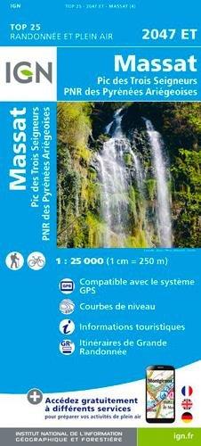 Carte IGN 2047 ET La Bastide-de-serou - Massat - Pic des Trois Seigneurs