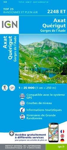 Carte IGN 2248 ET Axat - Quérigut - Gorges de l'Aude