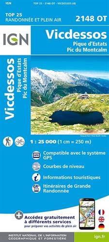 Carte IGN 2148 OT Vicdessos - Pique d'Estats - Pic du Montcalm