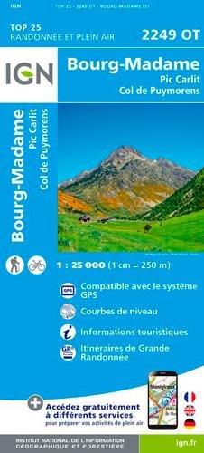 Carte IGN 2249 OT Bourg-Madame, Col de Puymorens, Pic Carlit