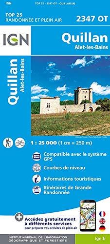 Carte IGN TOP 25 2347 OT Quillan - Alet-les-Bains