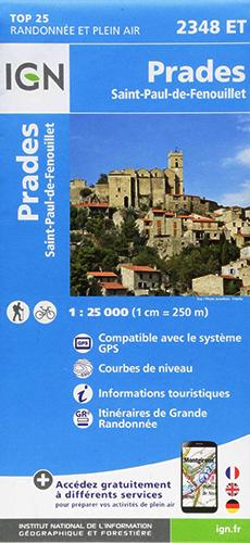 Carte IGN TOP 25 2348 ET Prades - Saint-Paul de Fenouillet