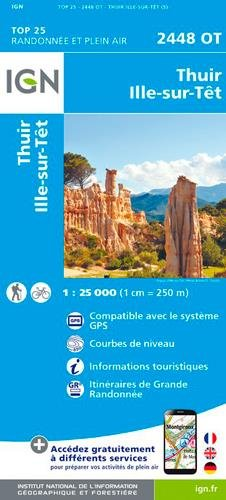 Carte IGN TOP 25 2448 OT Thuir - Ille-sur-Tet