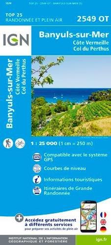Carte IGN 2549 OT Banyuls - Col du Perthus