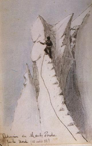 Dessin d'Henri Brulle: Ascension du Mont-Perdu par le Nord 10 août 1889