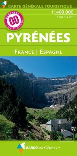 Carte générale touristique Pyrénées France Espagne au 1/400 000