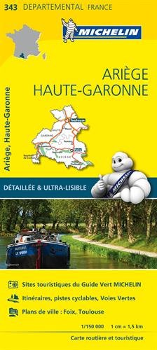 Carte routière et touristique Ariège, Haute-Garonne