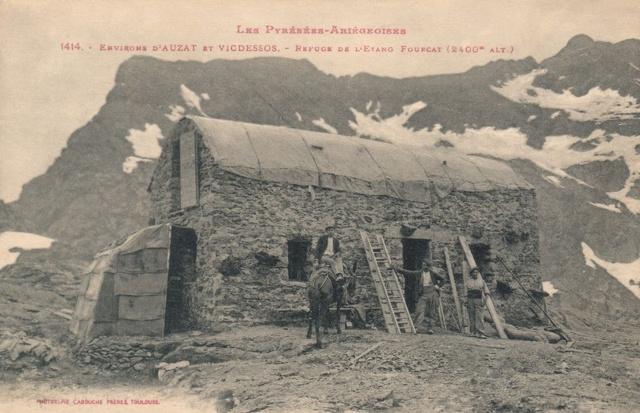 Le vieux refuge de l'étang Fourcat vers 1910