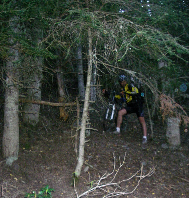La traversée des Pyrénées en VTT Etape 10 Descente hors sentier vers Estaon