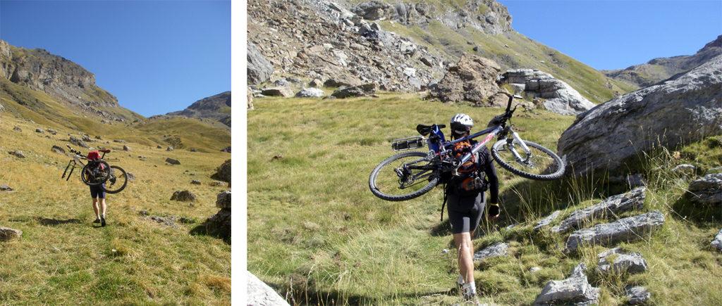 La traversée des Pyrénées en VTT - Etape 6 Portage vers le col de la Tendeñera