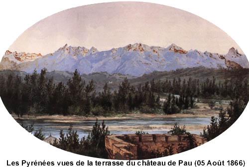 Les Pyrénées vues de la terrasse du château de Pau (05 août 1866)